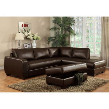 costco: messina brown bonded leather sectional with ottoman