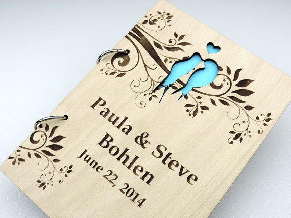 Custom Wood Wedding Guest Book, Wedding Present, Anniversary Gift, Bride and Groom, Bridal Shower Book, Wedding Photo Album