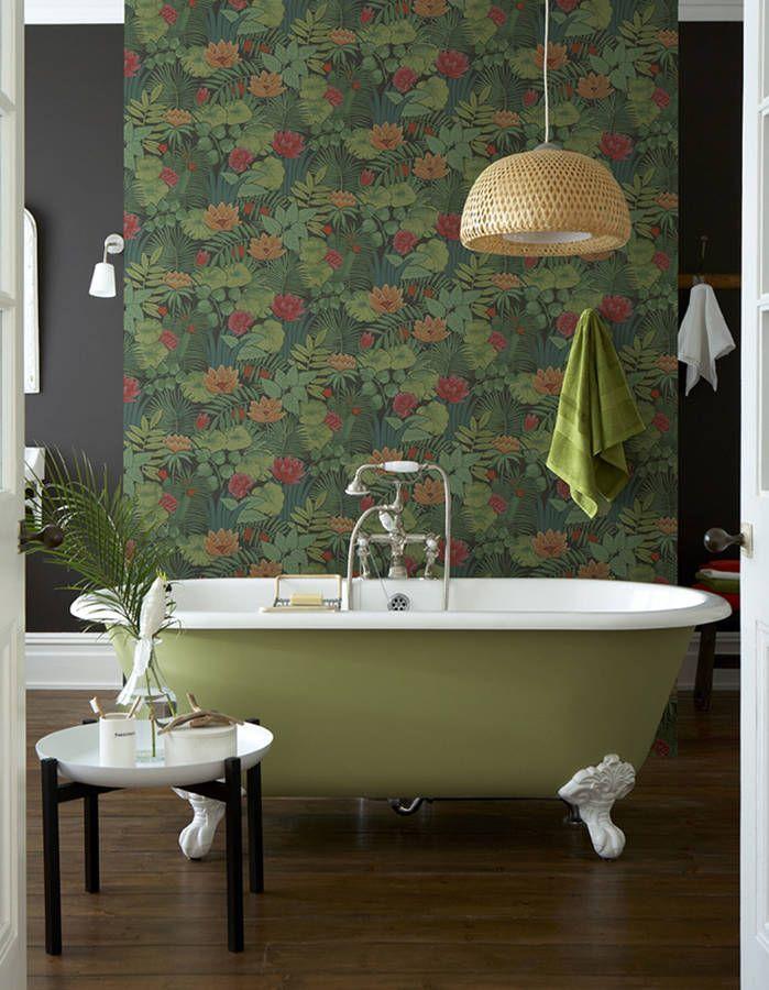 Les 25 meilleures id es concernant salle de bains papier for Papier peint salle de bain