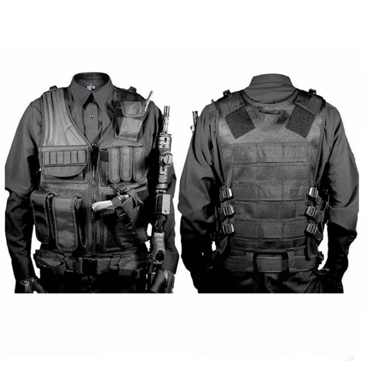 Hunting Military Tactical Vest High Quality Nylon Airsoft War Game Outdoor Vest for Camping Hiking with Pistol Holster