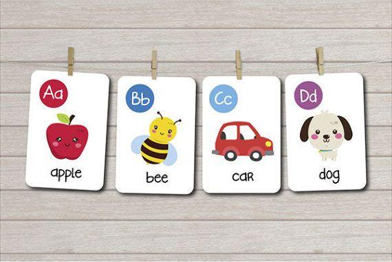 Alphabet cards Printable Flash cards Abc by LittleUniverseShop
