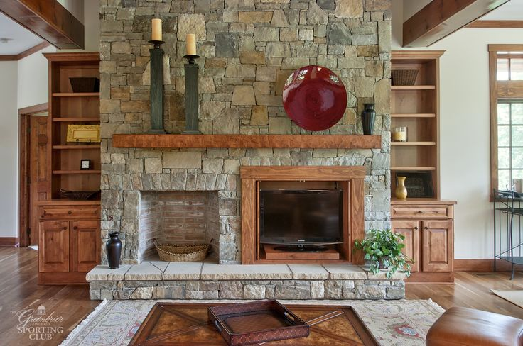 Stone Fireplace With Built In Television Stand