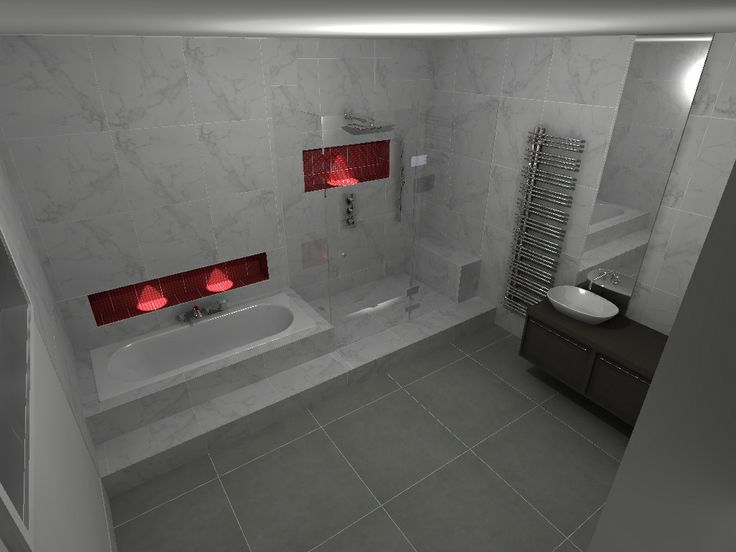 Bathroom - Carrera marble walls - Bisazza mosaic (red) Laufen Palomba washbowl
