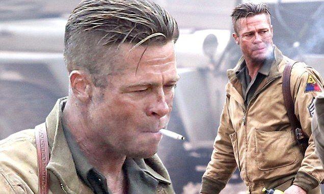 Brad Pitt smokes his way through another day on set of new movie Fury.