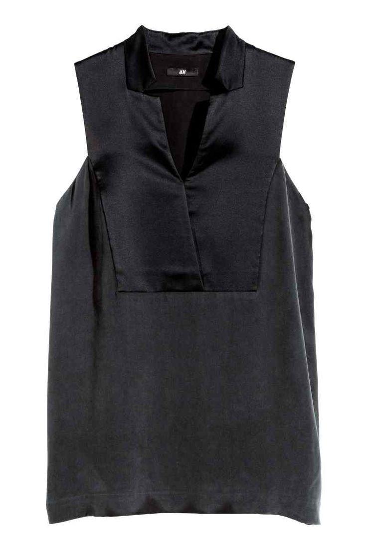 Camicetta smanicata in seta | H&M