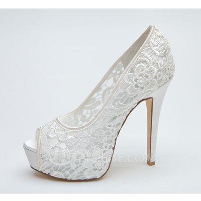 Women's Peep Toe Platform Pumps Sandals Stiletto Heel Lace Wedding Shoes