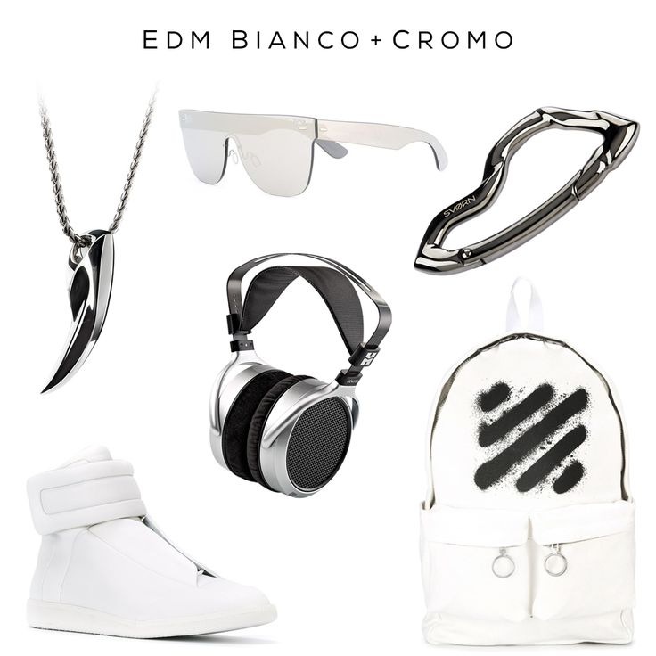 Bianco + Cromo EDM EDC Clockwise: Fenrir pendant by @svorndesign, Mirrored sunglasses by RETROSUPERFUTURE, Arcus carabiner by @svorndesign,  Backpack by OFF-WHITE, HE400S headphones by HIFIMAN, 'Future' hi-top sneakers by MAISON MARGIELA   #sneakers #edm #edmstyle #edmfashion #edc #gadget #white #chrome #backpack #style #aviators #pendant #jewelry #headphones #margiela #fashion #luxuryfashion #luxurystyle #mensaccessories #mensaccessory #accessoriesmen #accessoriesformen #fashionaccessories