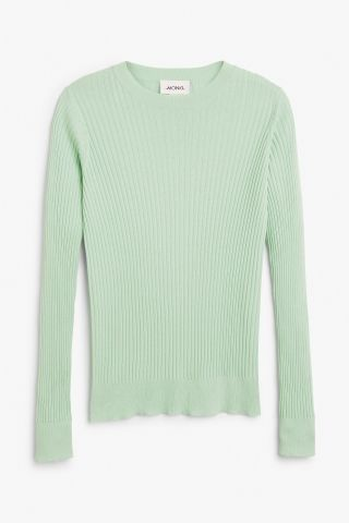 Monki Image 2 of Ribbed long sleeve top in Green Bluish Light