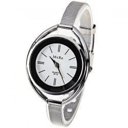 $5.00 MxRe Quartz Watch with Strips Hour Marks Steel Watch Band for Women - White