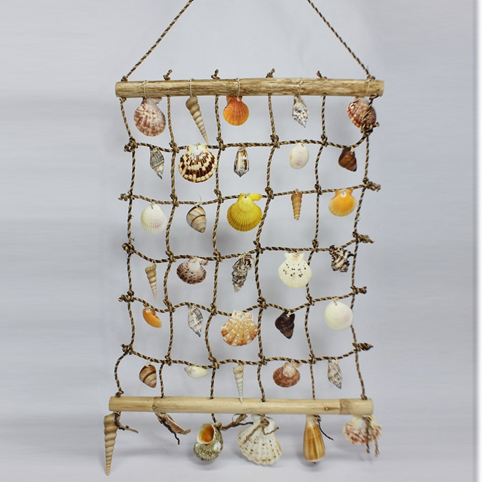 Sea shells wall deco bamboo sticks rope and attached for How to decorate bamboo sticks
