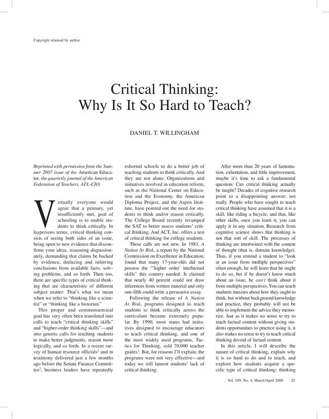What is Critical Thinking  and How to Teach It  SP ZOZ   ukowo