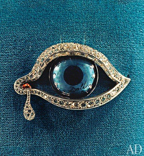 "Salvador Dali's ""Eye of Time"" brooch.  Jewelry Designed by Leading Artists : Architectural Digest"