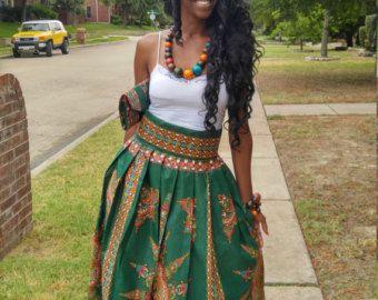 Vêtements africain jupe maxi Ankara jupe en Patchwork par Oludan