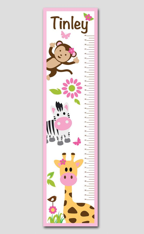 Personalized Pink Jungle Animal Growth Chart- Vinyl Print, Growth Charts for Girls, Nursery and Childen Decor