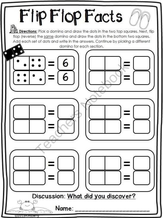 Teachers Notebook: domino math, addition facts sheet; fact families                                                                                                                                                                                 More