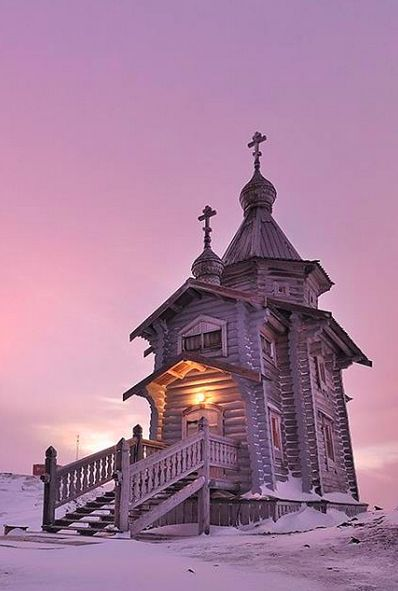 Trinity Church, a small Russian Orthodox church on King George Island near Russian Bellingshausen Station in Antarctica. It is the southernmost Eastern Orthodox church in the world.