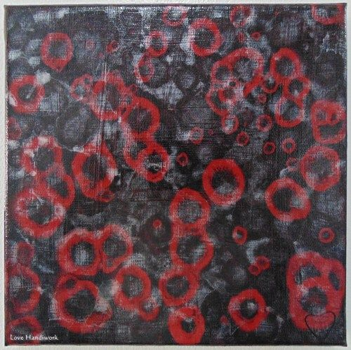 "Love 9 - BLACK RED & Metallic WHITE Abstract 8""x8"" Square Painting"