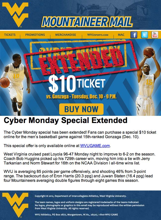 West Virginia - Cyber Monday deal extended for a key men's basketball game