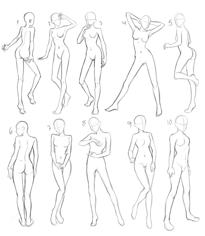 Different Poses - Female Body Study - Woman standing - Drawing Reference
