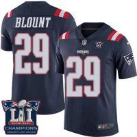 Men's New England Patriots #29 LeGarrette Blount Navy Blue Super Bowl LI Champions Nen Elite Jersey