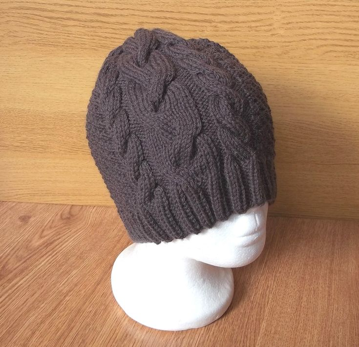 Brown hand knit woollen men winter hat with cable pattern | Slightly slouchy beanie hat by KnitDiscoveries on Etsy