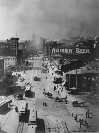 The foot of Market Street (1898) looking west, taken from the top of San Francisco's Ferry Building.