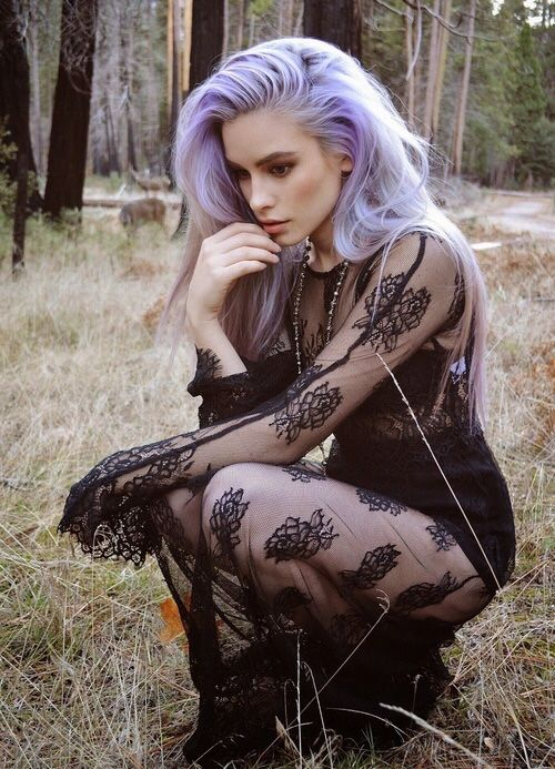 Love this pastel grey/lavender hair. Wish it was mine. What she is doing in the woods wearing lace though, is beyond me.