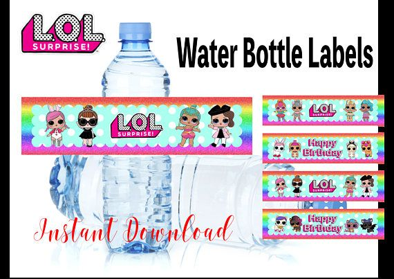 Lol Surprise Dolls Birthday Party Water Bottle Labels Kids Gift