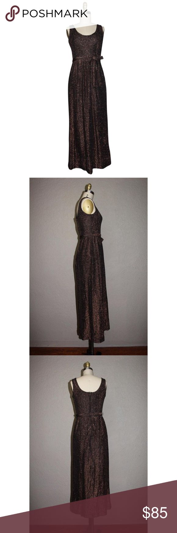 Victor Costa Romantica Bronze Knit Gown Dress Victor Costa Romantica Vintage Bronze Metallic Knit Gown With Matching Tie. Like New Condition. This item may have been worn but has no visible signs of wear. victor costa Dresses Prom
