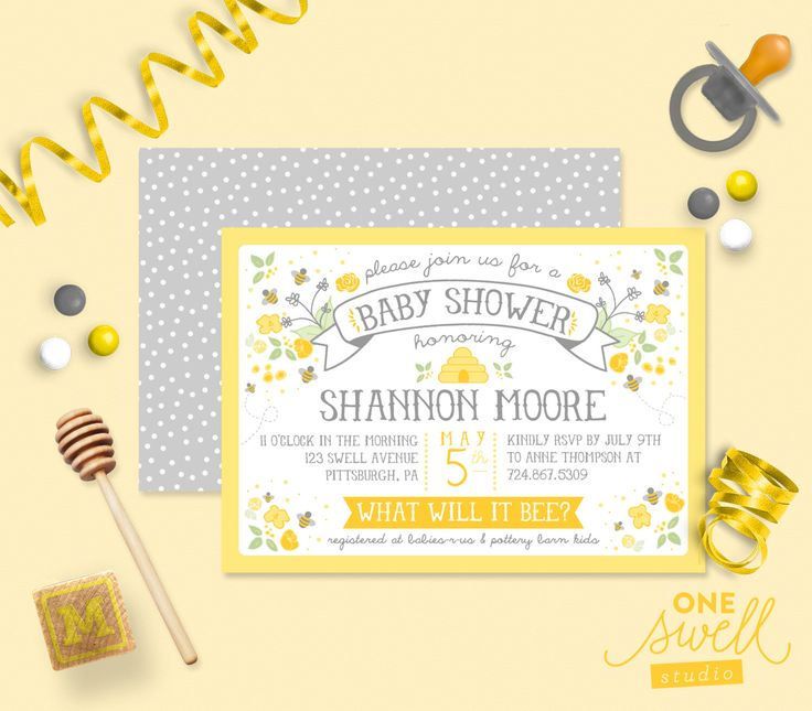 Bee Baby Shower Bumble Bee Honeybee Hive - Baby - Bee Printable Gender Reveal, Baby Shower or Birthday Party Invitation by oneswellstudio on Etsy https://www.etsy.com/listing/154474431/bee-baby-shower-bumble-bee-honeybee-hive