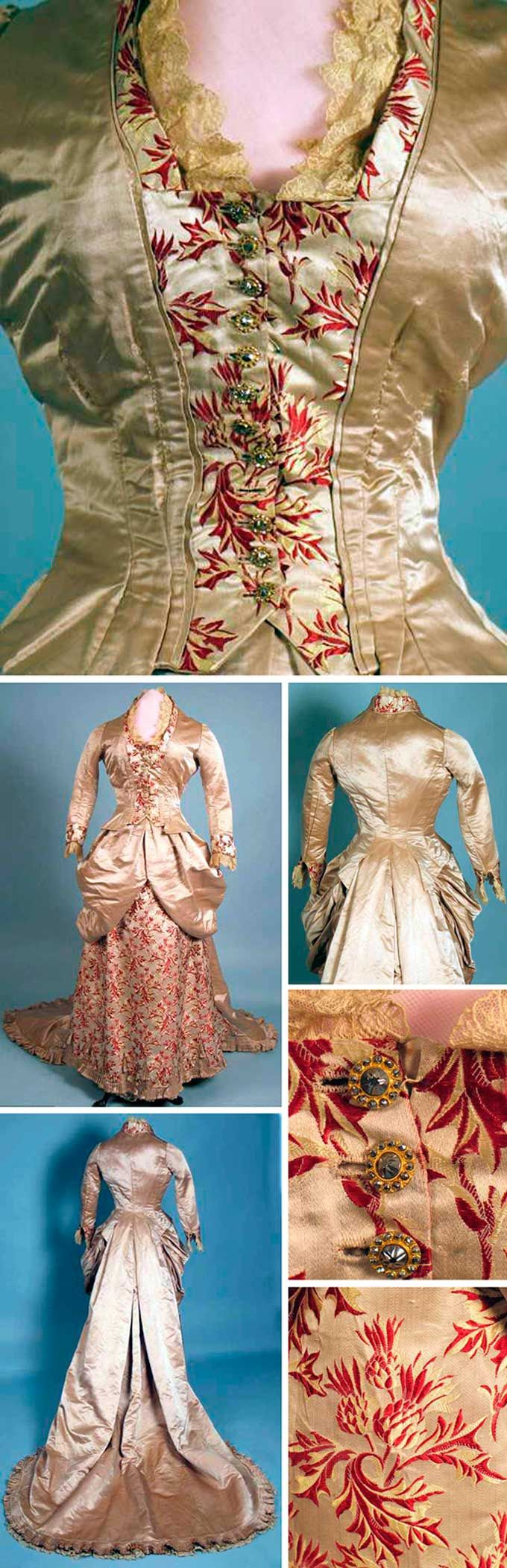 Silk satin and brocade reception gown, 1880s. Champagne silk satin and red and ivory thistle brocade. Two pieces--bodice and skirt attached at center back panel. Long train lined with lace-trimmed pleated buckram. Augusta Auctions
