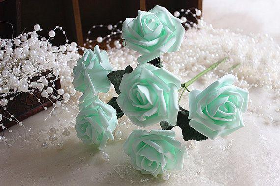 Minze Hochzeit Blumen künstliche Rosen für von HandcraftsInStudio