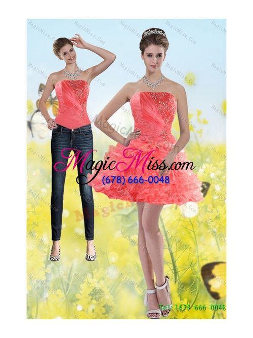 Fashionable 2015 Detachable Watermelon Red Strapless Prom Skirts with Beading and Ruffles - US$139.57 hot festliche kleider,  kuuma lomamekkoja -  sexy prom mekot -  hot vakantie jurken