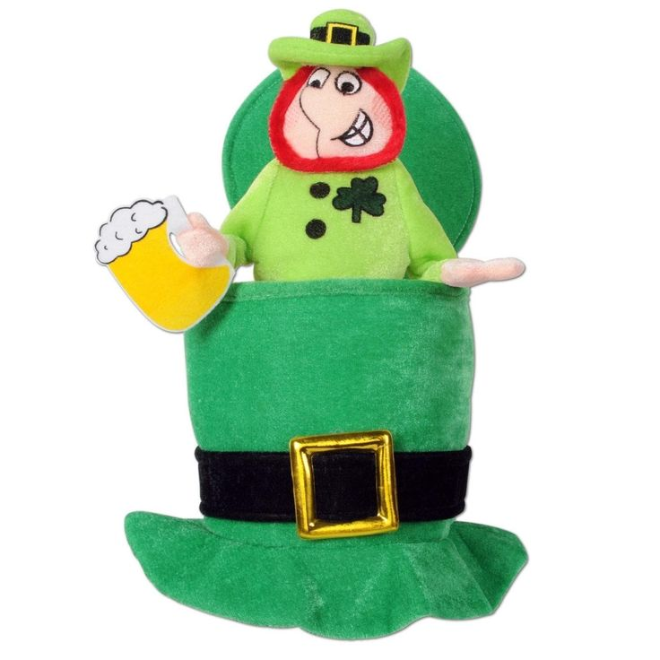 Pack of 6 Green Plush Top Hat with Leprechaun and Beer - Adult Sized, Adult Unisex, Size One Size Fits All