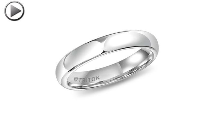 4mm Domed Comfort-Fit Triton White Tungsten Ring