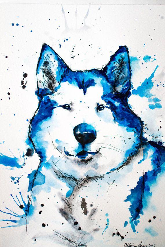 Watercolor Blue Malamute Original 9x12 Fine by GoGrayProductions