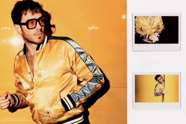 Paul Sculfor channels 1970s style in a golden yellow souvenir jacket from Valentino.