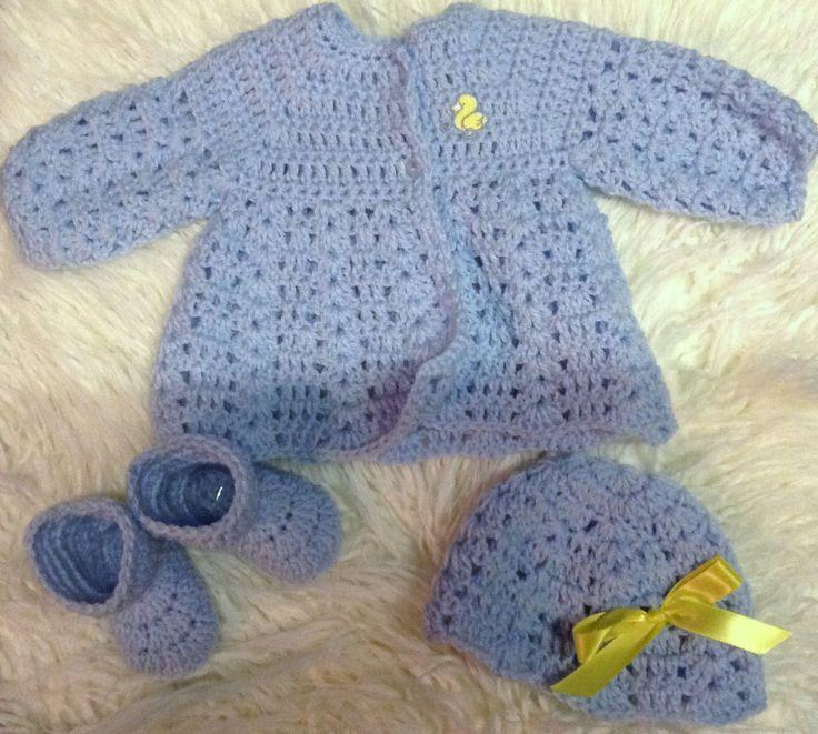 newborn layette set 3pc by PaulasCrochetArmoire on Etsy