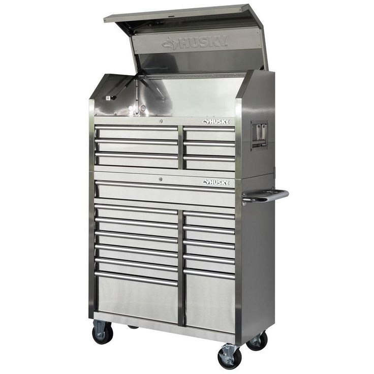 Husky 40 in. 18-Drawer Stainless Steel (Silver) Tool Chest and Rolling Tool Cabinet Set
