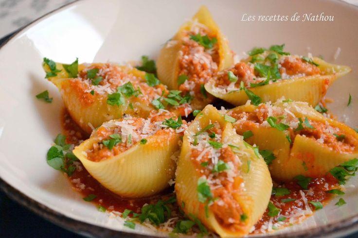 Les recettes de Nathou: Conchiglioni farcis au thon et au chèvre