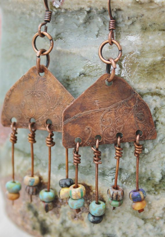 Boho Gypsy style Southwest tribal-esque Rustic Czech Beaded Copper Earrings: