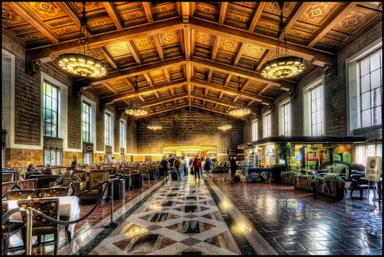Union Station, Los Angeles, CA. LA 's main rail transit hub Union Station is a gorgeous example of the late Deco-era Streamline Moderne architectural style, born of Depression cutbacks and aeronautical design. It opened in 1939.