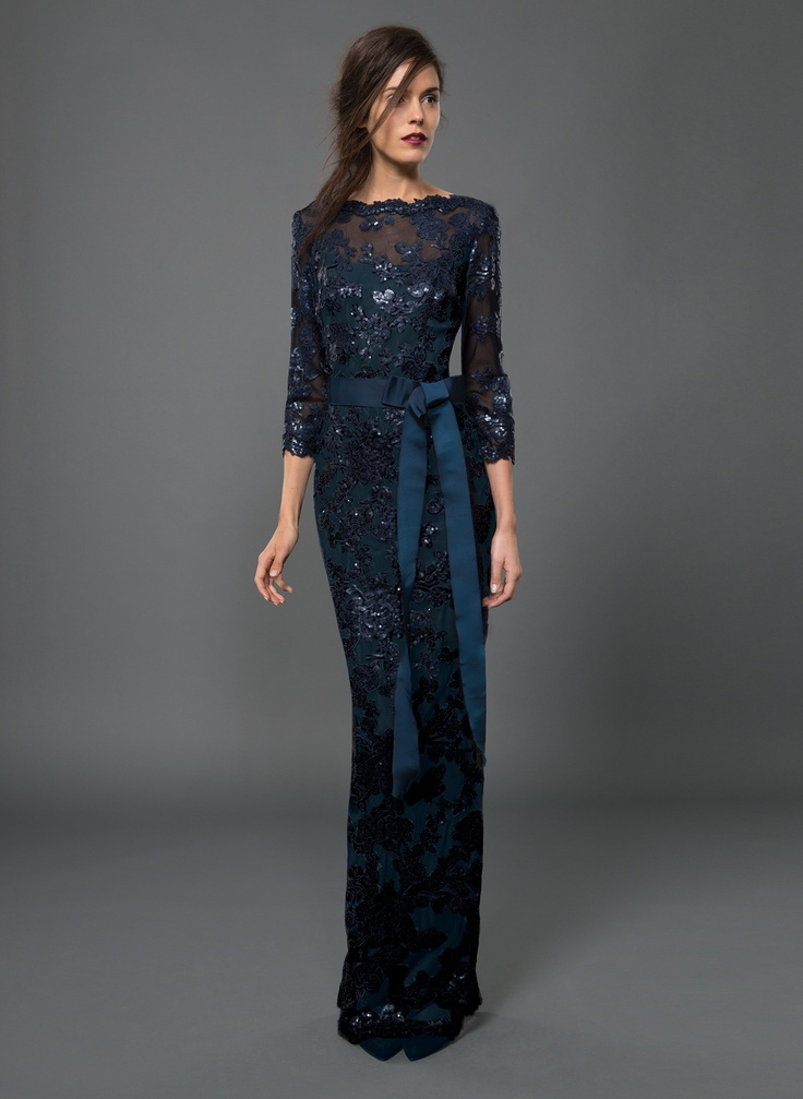 Paillette Embroidered Lace 3/4 Sleeve Gown in Prussian Blue | Tadashi Shoji