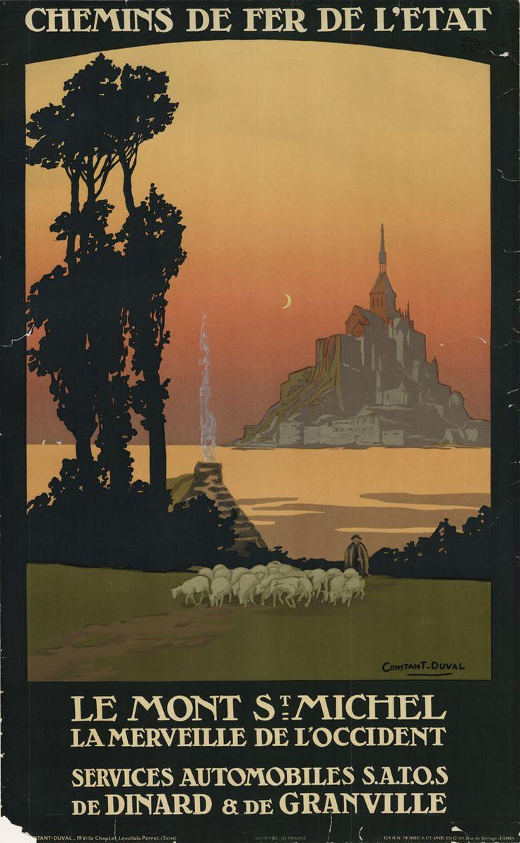 Vintage Railway Travel Poster, Le Mont St. Michel.