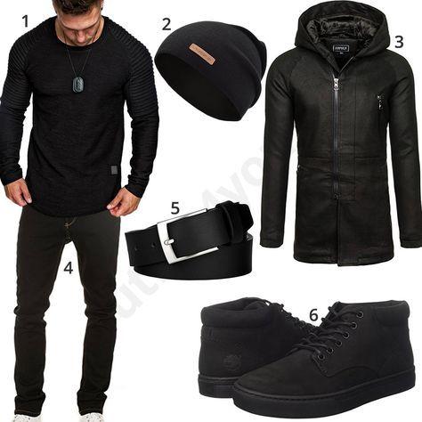 Schwarzes Herren-Outfit mit Mantel, Boots und Mütze – alexander gonzalez