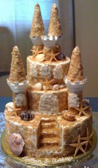 """Sand Castle Cake = Rice Krispy form, ice cream cone peaks, cover with peanut butter icing, and then cover with """"edible sand"""""""
