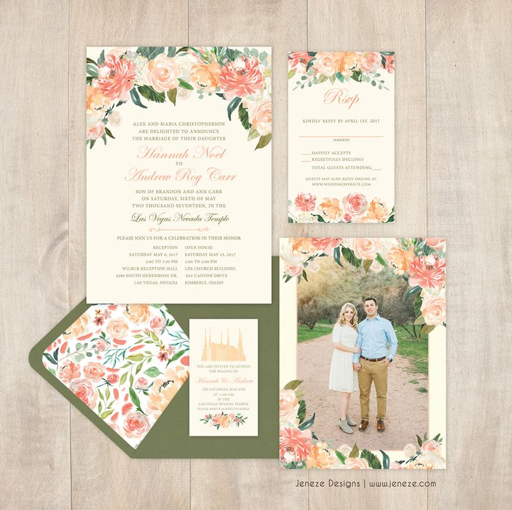 Floral Wedding Invitation With Greenery And Peach Flowers, Brush Fonts,  Modern Design, Spring Or Summer Wedding, Full Paper Suite