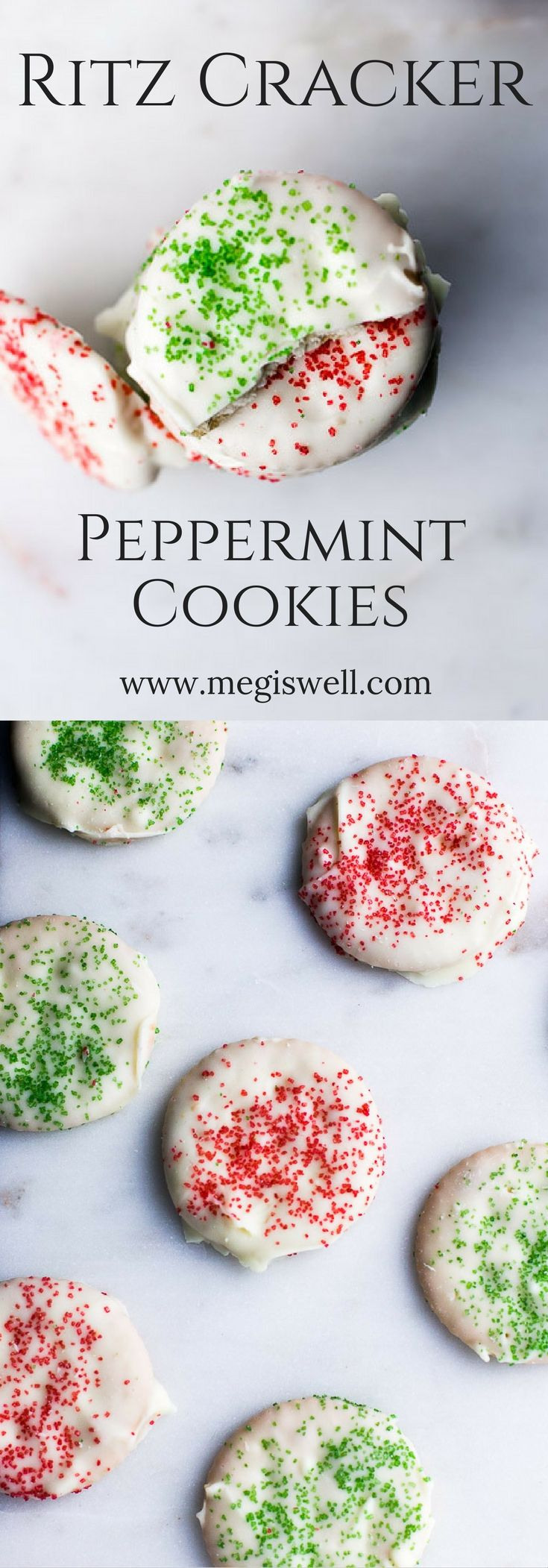 Cool fresh mint, hardened and creamy white chocolate, and a crisp and salty Ritz Cracker all combine in one bite in these Ritz Cracker Peppermint Cookies, an easy no bake holiday freezer dessert. | www.megiswell.com