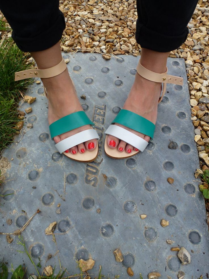 Sandals Silver and Teal