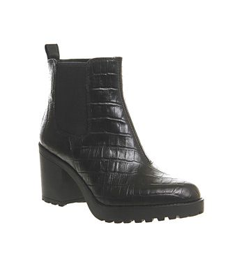 Vagabond Grace Heeled Chelsea Black Croc Leather Exclusive - Ankle Boots